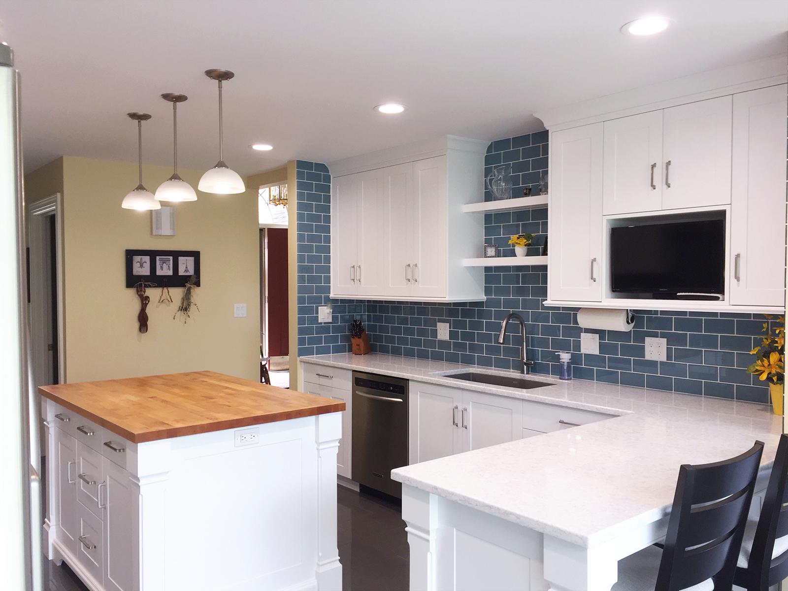 kitchen, white, backsplash, cabinets, island, custom