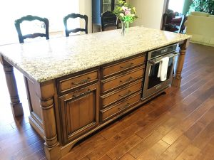 Fehrenbacher Cabinets, island, kitchen, open concept, stained cabinets, granite, storage, oven
